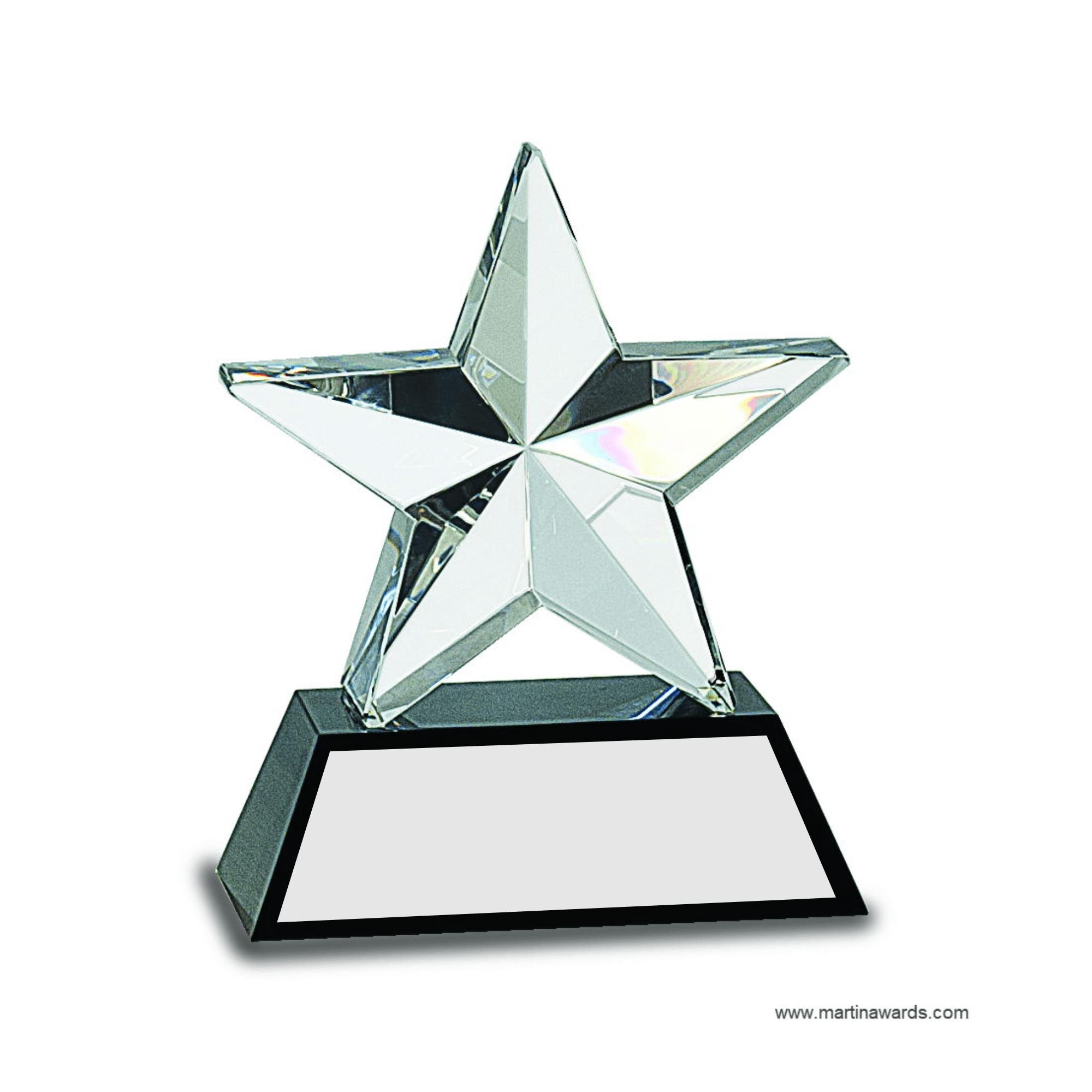 6 crystal 3d star on black base martin awards for 3d star net