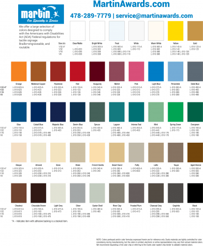 ADA Color Selection Chart - Martin Awards