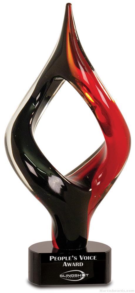 13 1/4 inch Red/Black Twist Art Glass