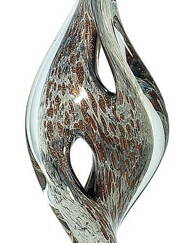 15 1/4 inch Spire Twist Art Glass on Black Base