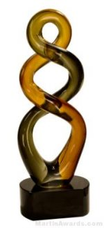 13 1/2 inch Brown Twist Art Glass
