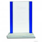 8 1/2″ Blue 2-Edge Crystal on Clear Base