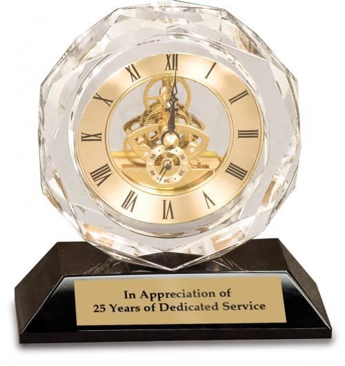 Clear Crystal Clock on Black Base