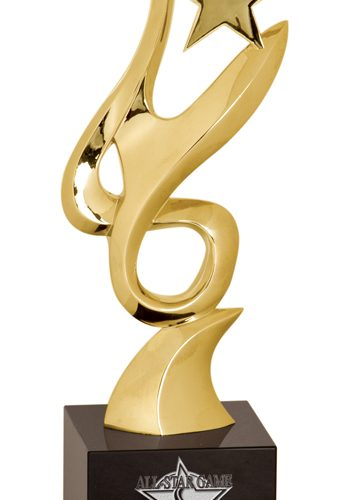 11 3/4 inch Gold Metal Art Crystal Award