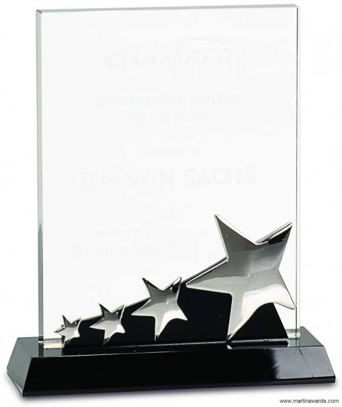 Dynamic Rectangle Silver Stars Crystal Award
