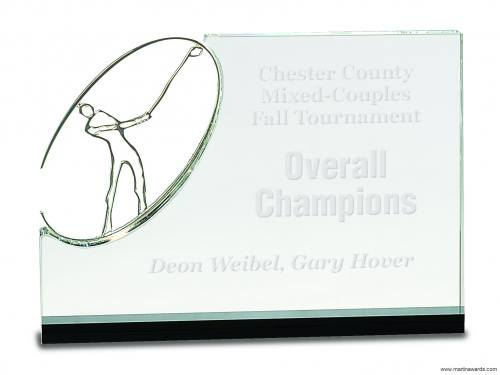 Crystal Stand up with Silver Metal Golf Figure