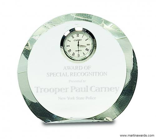 4 1/2″ Clear Crystal Round with Clock