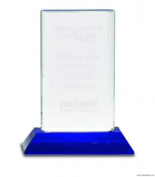 Crystal Cylinder on Blue Pedestal