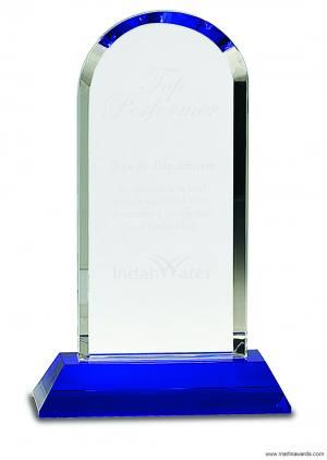 Crystal Award Dome on Blue Base
