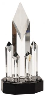 11 inch Clear Crystal 5 Rising Diamonds on Black Pedestal Base