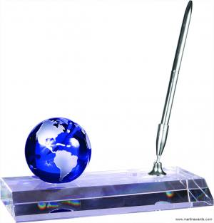 Crystal Globe with Pen desk accessory