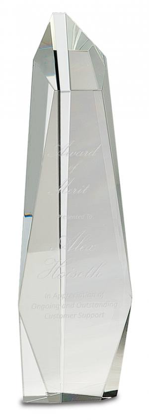 12 inch Clear Crystal Facet Tower