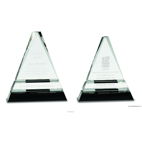 Clear Crystal Triangle on Pedestal Base