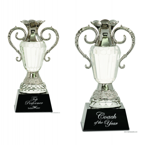 Crystal Cup with Silver Metal Handles