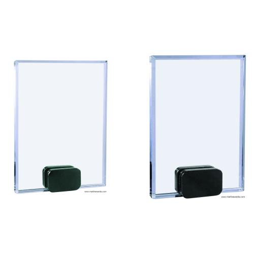 Crystal Rectangle with Black Base