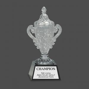 Crystal Trophy Cup on Pedestal Base