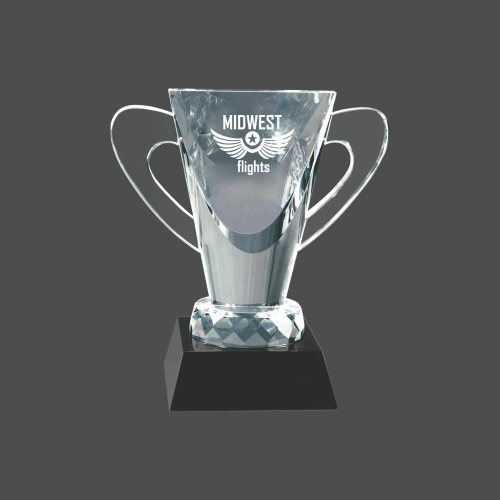 """6 1/2"""" Crystal Cup on Black Pedestal Base"""