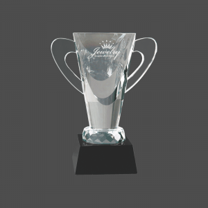 "7 3/4"" Crystal Cup on Black Pedestal Base"