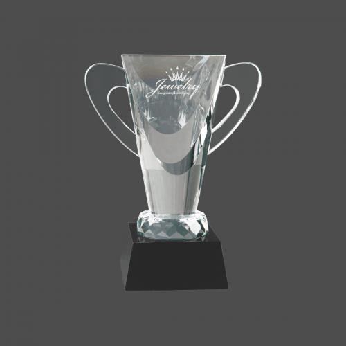 """7 3/4"""" Crystal Cup on Black Pedestal Base"""