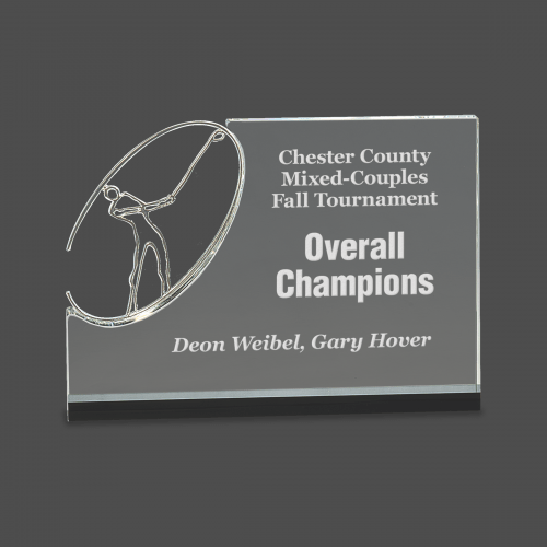 Clear/Black Crystal Stand up with Silver Metal Oval Golf Figure