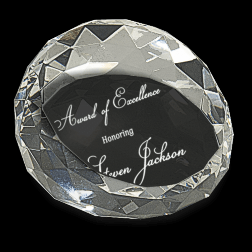"""3 1/2"""" x 2"""" Clear Round Crystal Facet Paperweight"""