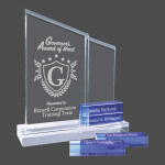 Crystal Perpetual Stand-up Plaque with Blue Blocks