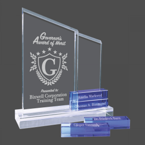 ' Blue Blocks Crystal Perpetual Stand-up Plaque