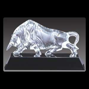 Optical Crystal Bull on Black Base