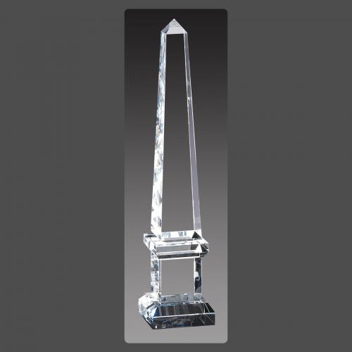 """2 3/4"""" x 12"""" Crystal Obelisk Towers on Pedestal"""