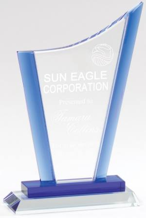 Blue Curved Peak Crystal Award