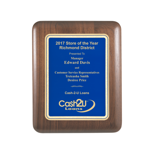 Blue Walnut Aero Edge Plaque