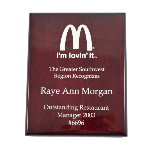 High Gloss Color-fill Plaque – Square Corners