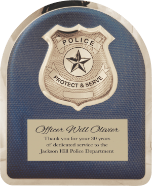 Police Hero Plaque with Chrome Badge