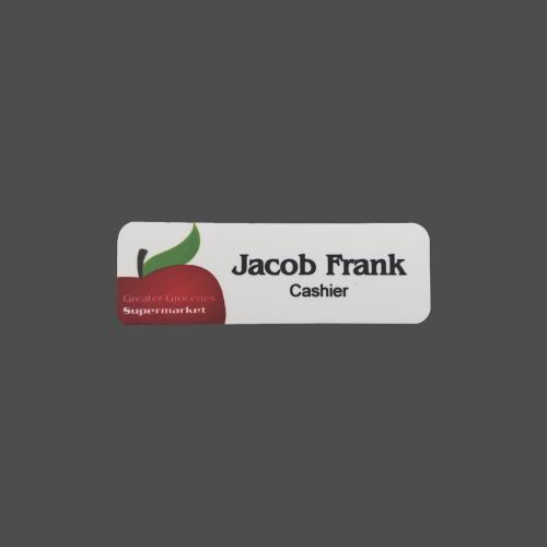 "1"" x 3"" White Metal 4-Color Process Name Badge"