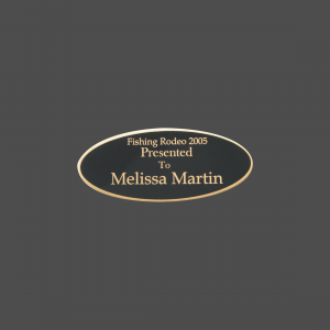 """1 1/2"""" x 3 1/2"""" Oval Black Brass Metal Name Tag with Gold Border"""