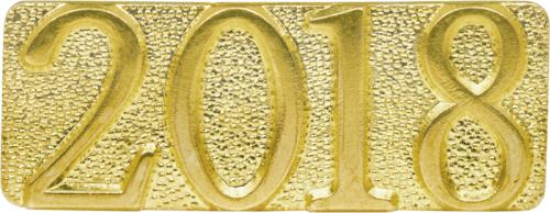 Gold 2018 Metal Chenille Letter Insignia