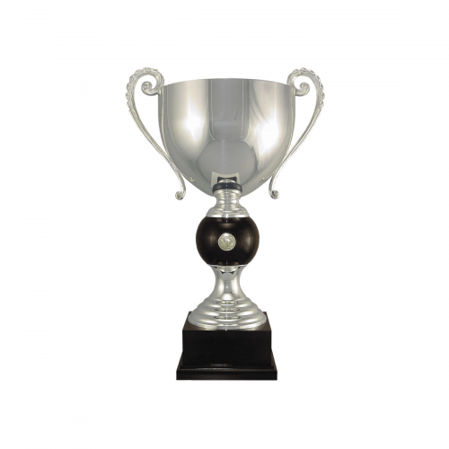 """19 3/4"""" Silver plated Italian trophy cup with coin inset"""