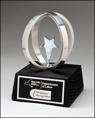 MA6607 - Chrome Plated Star in Aluminum Unisphere Natural Wood base with Black Stain