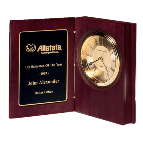 """4 1/4"""" Hand-Rubbed, Mahogany-Finish Book Clock with Gold-spun, 3 hand movement (1 Day Rush)"""