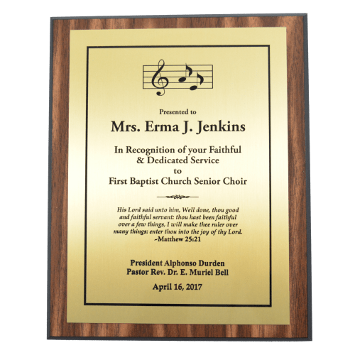 """8"""" x 10"""" Walnut Finish Plaque with Gold Plate (1 Day Rush)"""