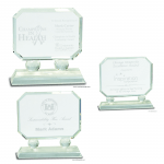 Rectangle Crystal Award on Clear Pedestal Base
