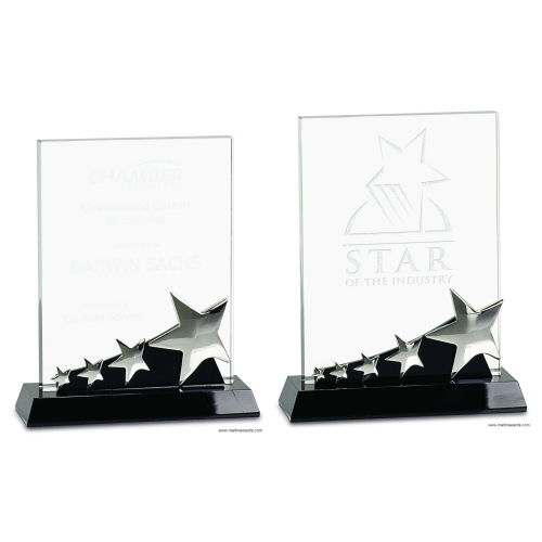 Rectangle Silver Stars Crystal Award