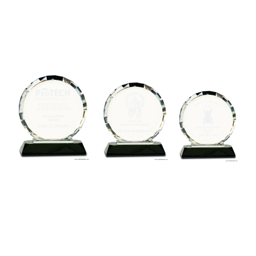 Round Faceted Clear Crystal on Black Base
