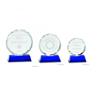 Round Facet Crystal on Blue Base Award