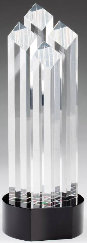 Transparent Four Column Crystal Award