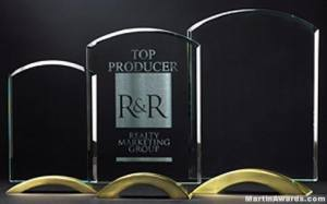Arch Glass Awards with Gold Metal Base