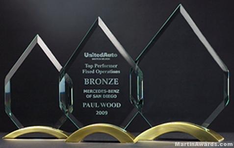 Diamond Glass Award with Gold Arched Base