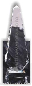 "Crystal Glass Awards - 3 1/2"" x 12"" Genuine Prism Optical"