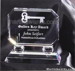 "Crystal Glass Awards - 6"" x 5 1/2"" Prism Optical Crystal"
