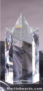 "Crystal Glass Awards - 4 1/4"" x 8"" Genuine Prism Optical Crystal"